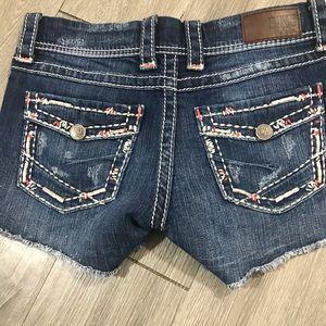 BKE Stella Flap Pocket Embroidered Denim Shorts